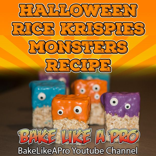 Halloween Rice Krispies Monster Treats Full recipe on my YouTube channel. CLICK PICTURE to go directly there !