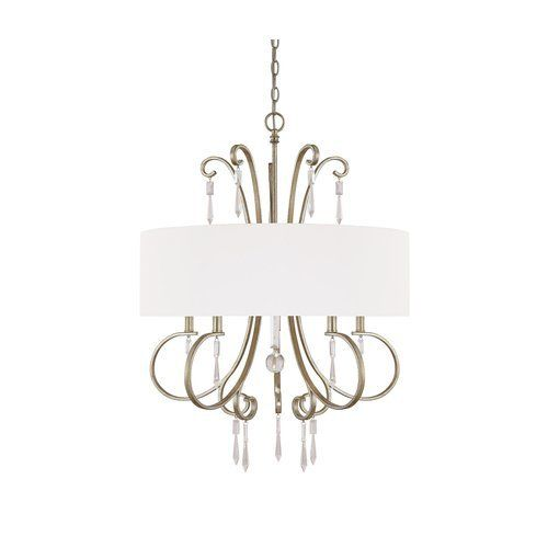 Capital Lighting 4464WG563CR Simone 5Light Chandelier Winter Gold Finish with Fabric Shade and Clear Crystal Accents ** You can get additional details at the image link. (Note:Amazon affiliate link)