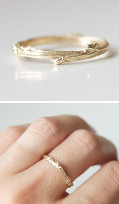 Twig Ring - such a simple gold ring with a bit of texture and nature.