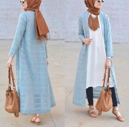 blue long open cardigan- How to wear long tunic with hijab http://www.justtrendygirls.com/how-to-wear-long-tunic-with-hijab/