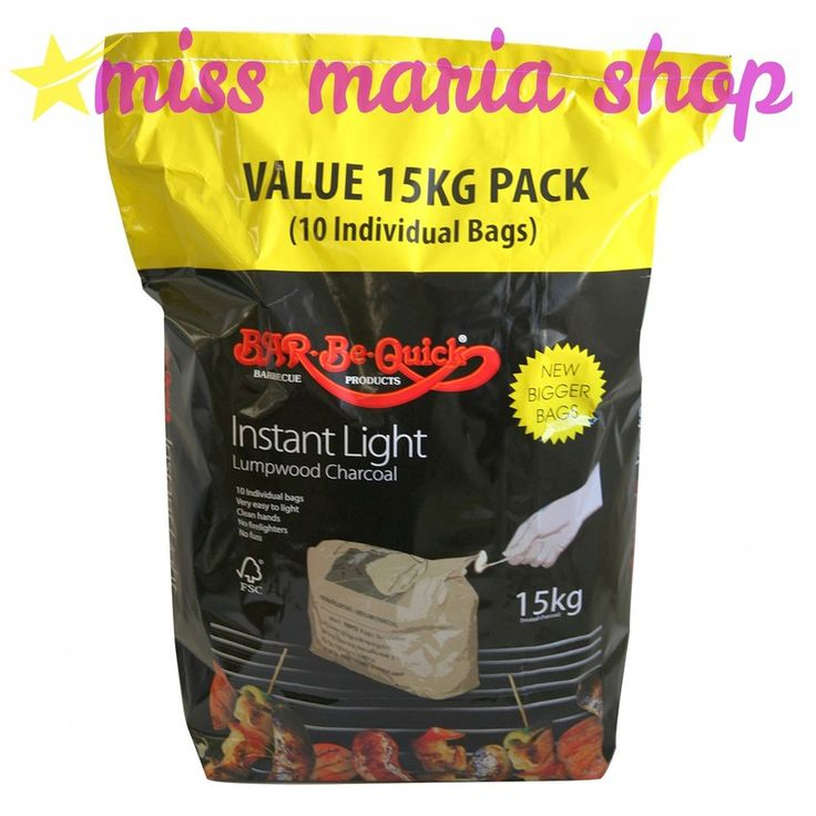 BBQ 15kg Instant Light Charcoal 10 X1.5Kg Individual Bags Easy Light No Mess New