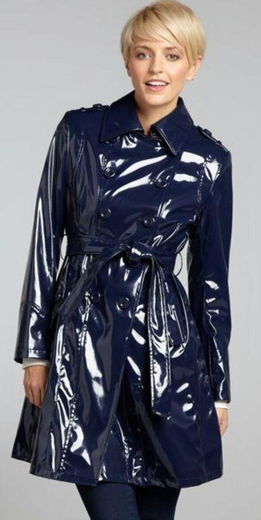 Blue Pvc Raincoat Shiny Vetement Cuir Cire