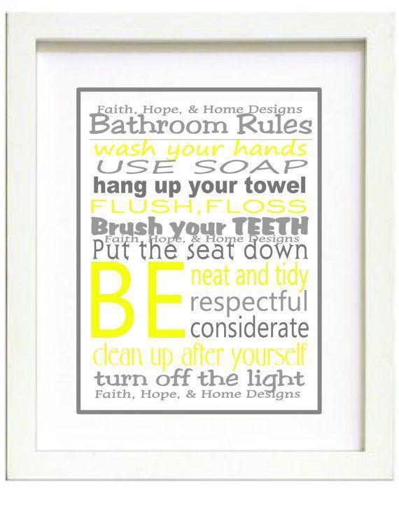 yellow bathroom wall art