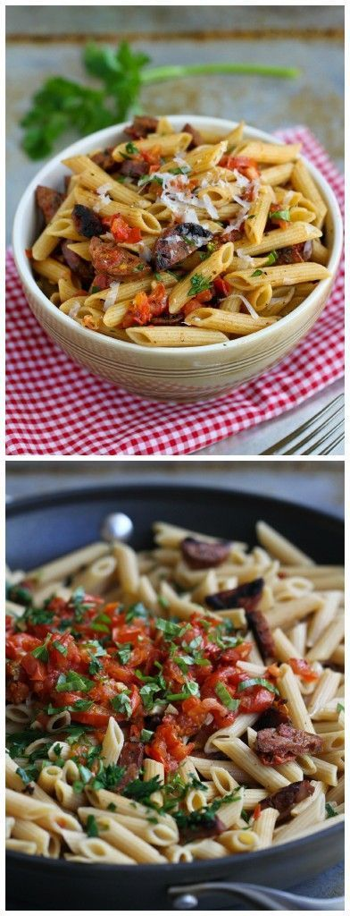 Roasted Tomato and Chicken Sausage Whole Wheat Pasta Recipe...266 calories and 7 Weight Watchers PP   cookincanuck.com #healthy