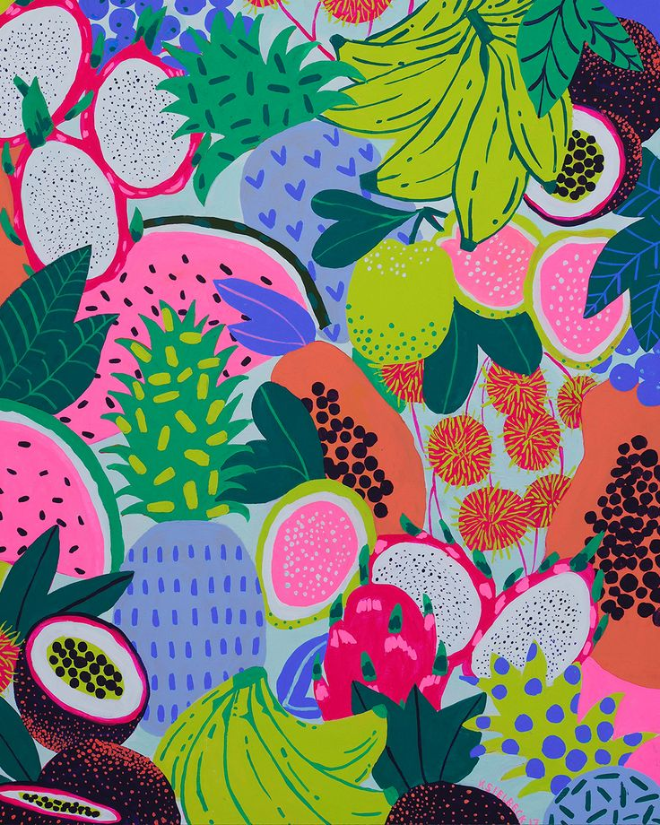 1 2 How many of these fruits can you name? Dragon fruit, rambutan, pineapples, lilikoi, papayas… all found atthe farmers' market in Hawaii. 16 x 20 acrylic on wood panel, on displ…