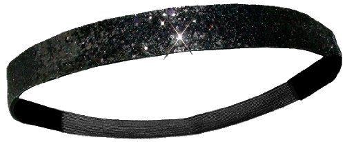 Black Glitter Headband with Elastic Back (Black): Glitter Headbands, Hair Pieces, Hair And Beautiful, Black Glitter