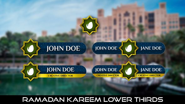 Ramadan Kareem Lower Thirds  5 Lowerthirds | Full HD 1920×1080 | Quicktime PNG alpha codec | Each 10 seconds.  Download it here : https://videohive.net/item/ramadan-kareem-lower-thirds/20006233  If you love my work, don't forget to rate it. Thank you.   #envato #videohive #motiongraphic #aftereffects #arabic #broadcast #caption #dessert #dubai #islamic #lowerthird #middleeast #moslem #mosque #ramadan #ramadankareem #television #title #youtube