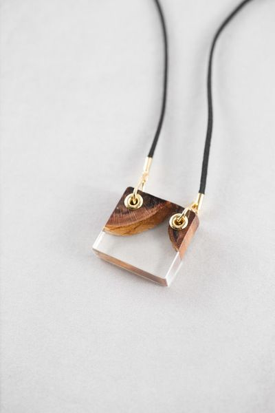 Aves Pendant Necklace Natural Wood and Clear Resin $15.00