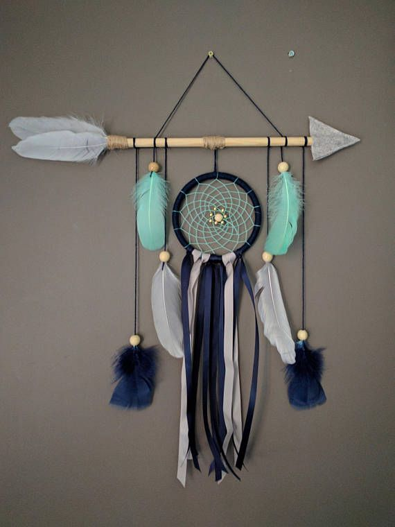 Arrow nursery dream catcher/ Navy blue gray mint large baby mobile/ Arrow wall hanging/ Baby boy dreamcatcher