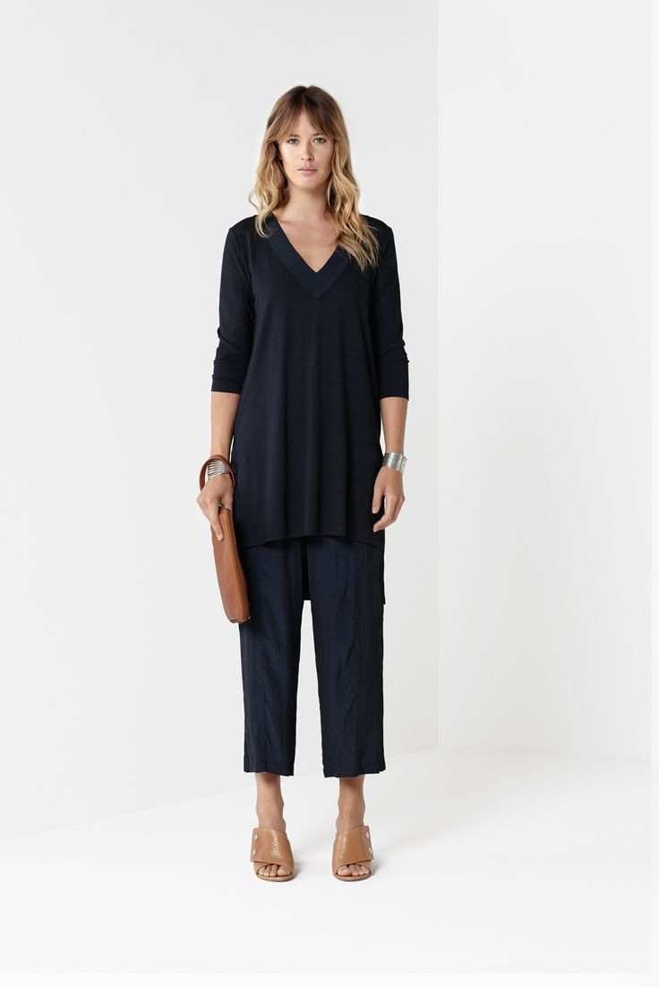 Navy Spliced Tunic Navy Midi Panel Pant