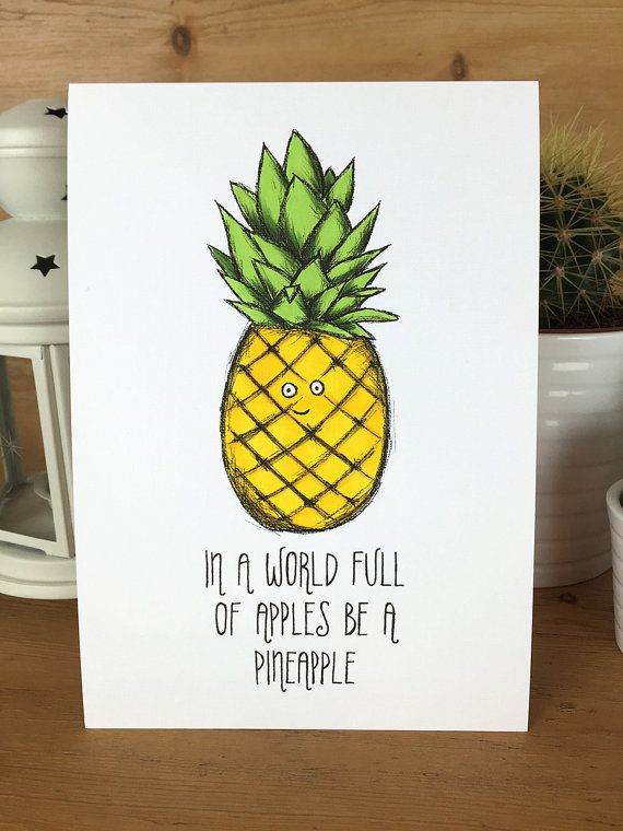 Pineapple Illustration Original A5 hand drawn cute quirky character motivation…