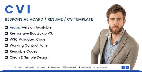 Cvi Responsive vCard \/ Resume \/ CV Template Awesome, Resume cv - bootstrap resume template