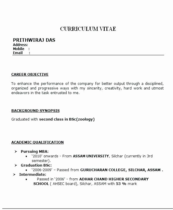 For Bsc Zoology Resume Format Resume Format For Freshers Resume