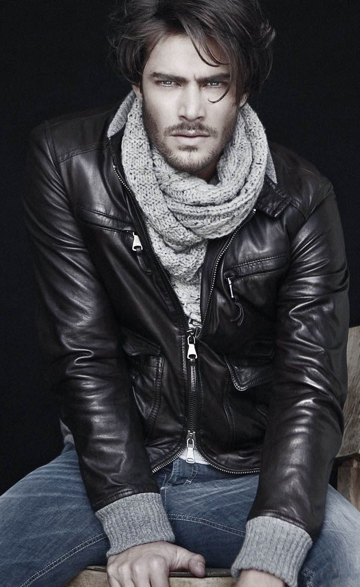 Scarf and Leather Jacket.......
