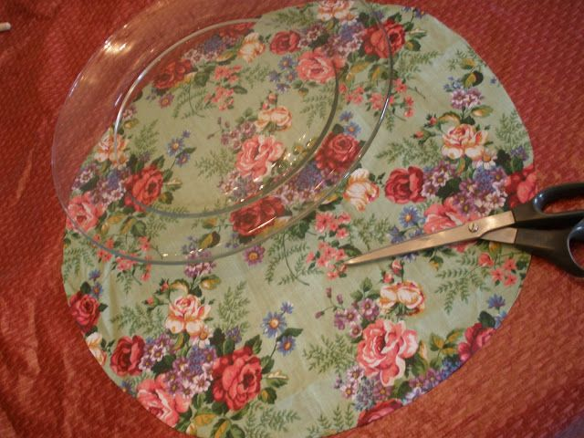 mod podge pretty fabric on back of clear plate