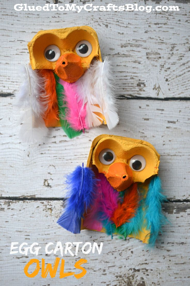Egg Carton Owls {Kid Craft} Could change a little and make bats...