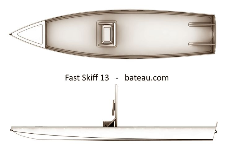 Boat plan for 13' solo flats skiff or SUP, fishing kayak