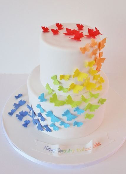 Butterfly Rainbow Party #rainbow #partycake
