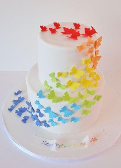 Butterfly Rainbow Party #rainbow #partycake