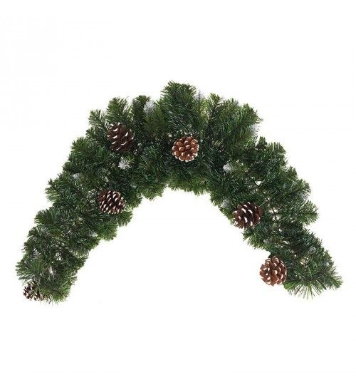 PVC GARLAND IN GREEN_FLOCKED COLOR W_PINE CONES (144 tips) M-90