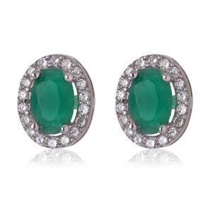 Pendientes de plata de primera ley con forma de ovalo con circonitas blancas alrededor y una piedra color verde esmeralda en su centro y con cierre de presion