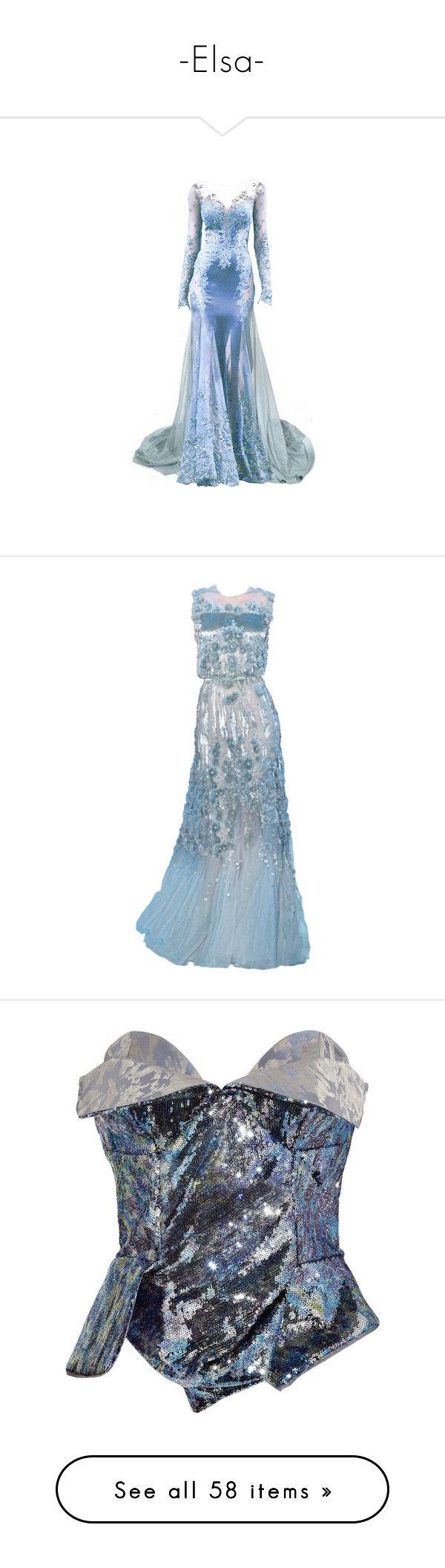 """-Elsa-"" by flowerpetalp ❤ liked on Polyvore featuring dresses, gowns, long dresses, vestidos, elie saab, elie saab dresses, blue dress, long blue evening dress, blue evening gown and blue gown"