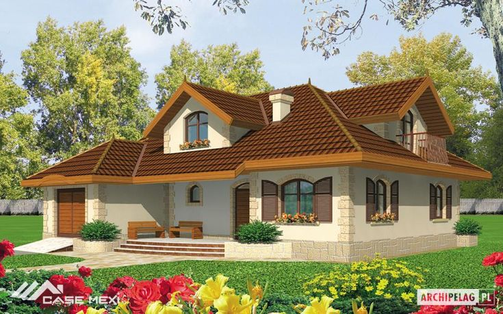 A house with functional attic without basement, with built in garage, designed for 4-5-person family.On the ground floor is the day zone with kitchen, dining room and living room with fireplace. Additional room can be also a study or a guest room. On the first floor are 3 bedrooms, big bathroom and box-room which can be also a wardrobe.