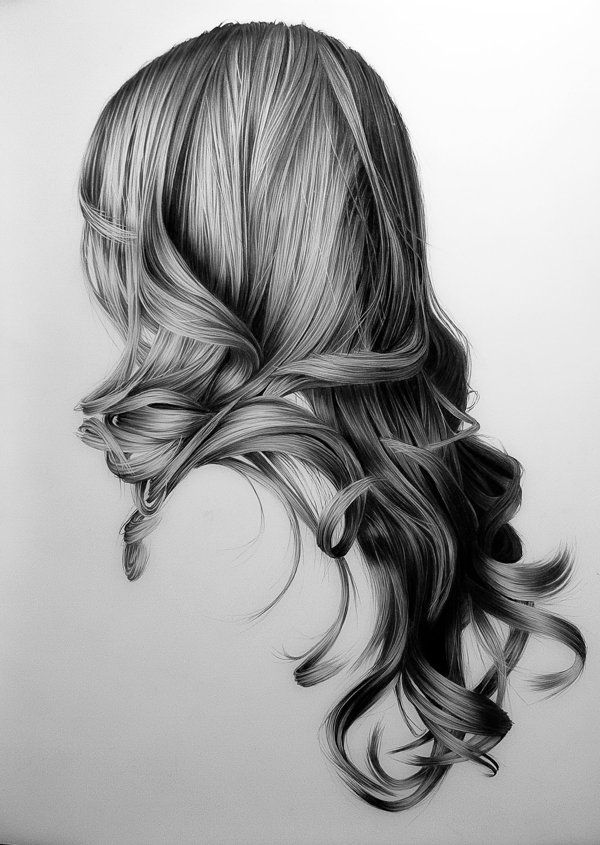 Hair Portraits by Brittany Schall, via Behance (I always see drawings of the most beautiful hair, that I know could never be mine!?) How!?