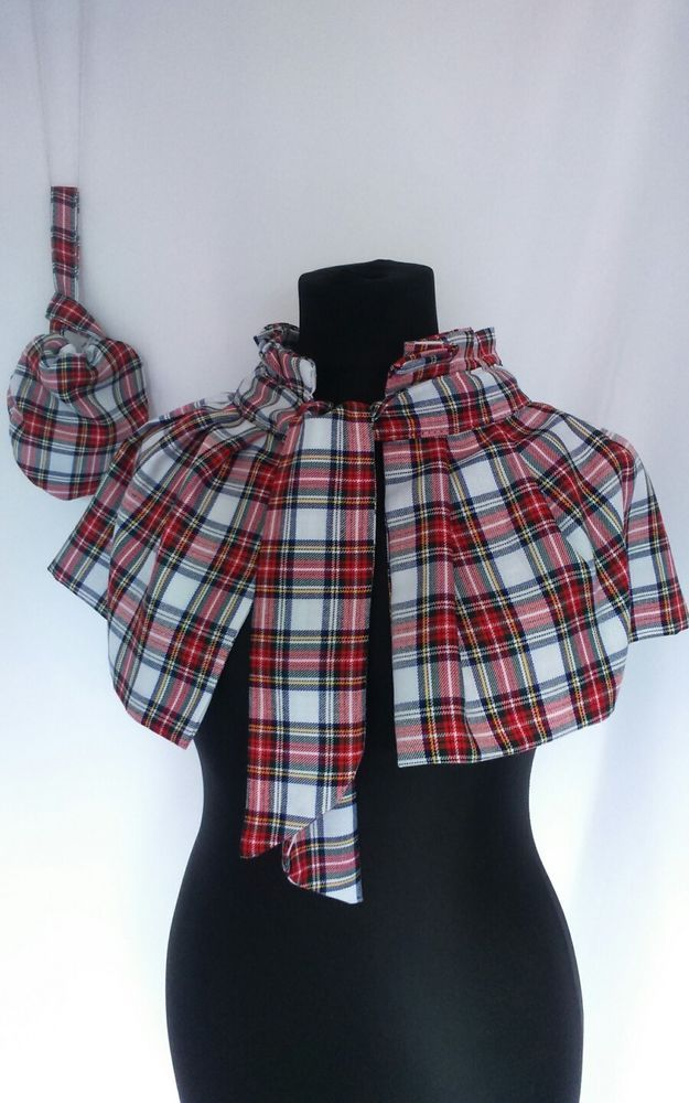 Victorian shoulder cape bag theatre medieval Scottish tartan unique fancy dress