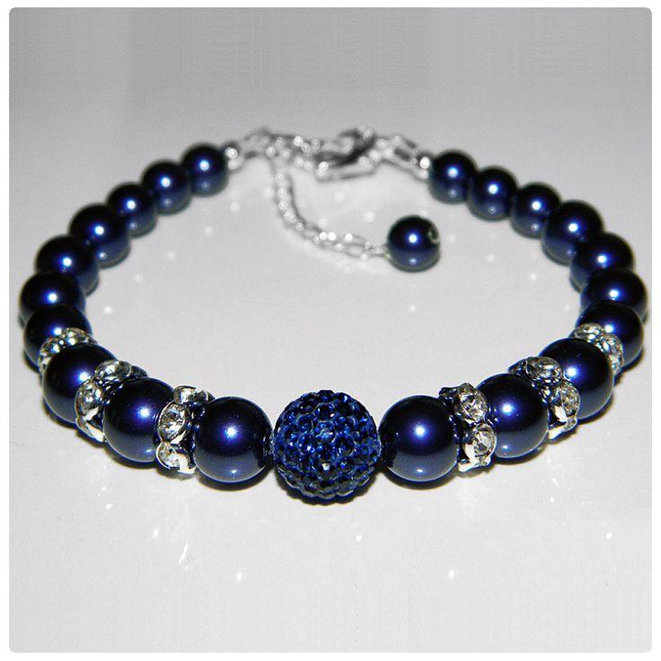 Nyaklánc inspiráció #Swarovski Crystal Round gyöngyökből #Night #Blue, és #Pavé Ball kristály gyöngyökből #Montana színben.
