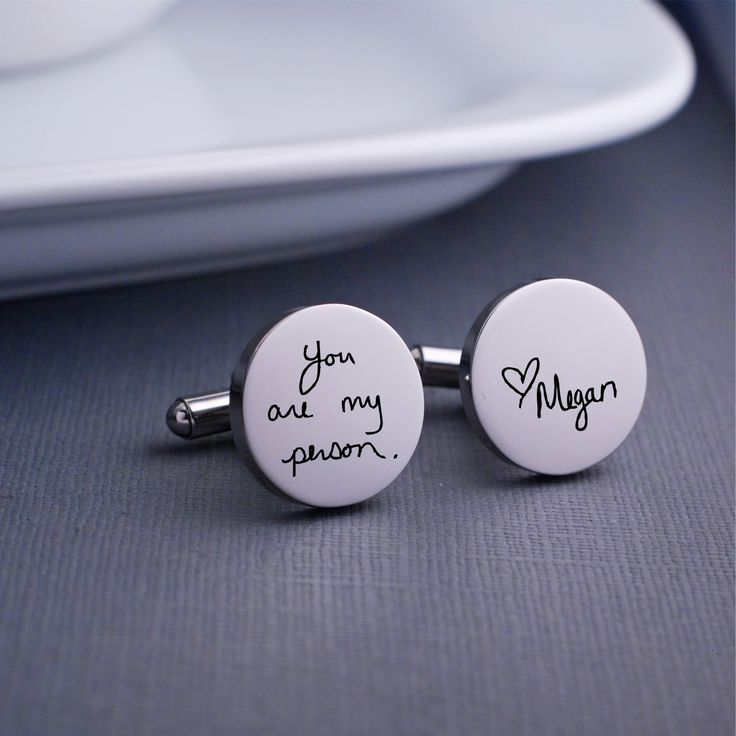 Custom Handwriting Cuff Links –Father's Day Gift for Him  georgie designs personalized jewelry