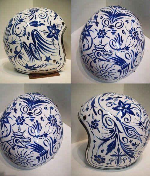 Blue on white helmet.