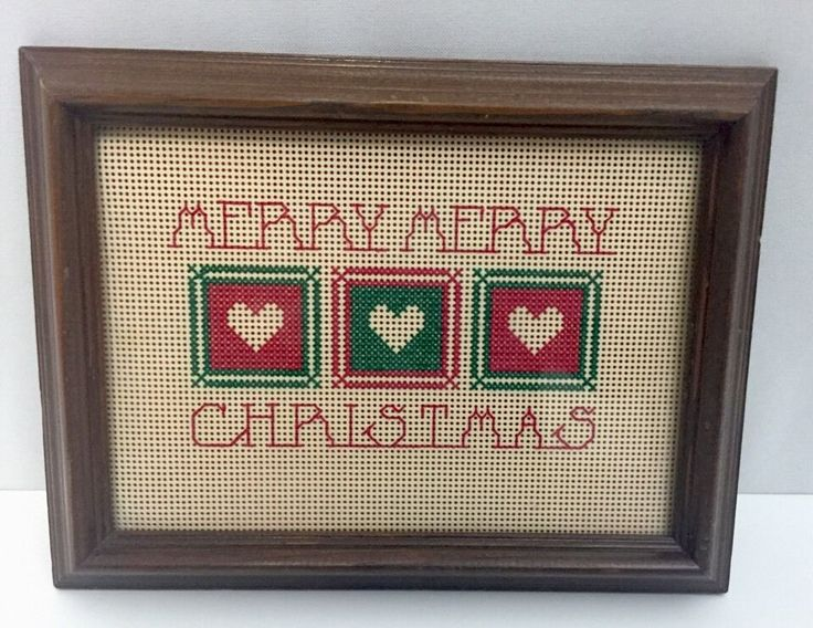 Merry Christmas Cross Stitch Stitched Artwork Small Glass Hearts Plaque Art