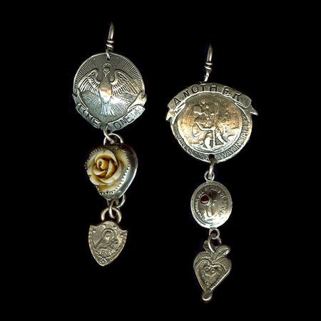 http://www.sweetbirdstudio.com/ Love One Another St. Christopher and Holy Ghost coins dangle from a french wire earring, and are accented with rosary charms, carved whi...