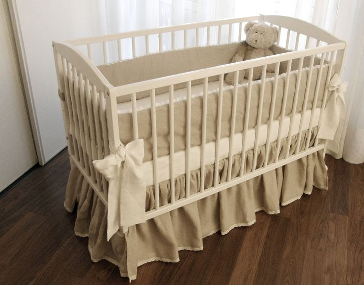 Linen Crib Bedding 5 Pieces Bed Skirt Bumper Fitted