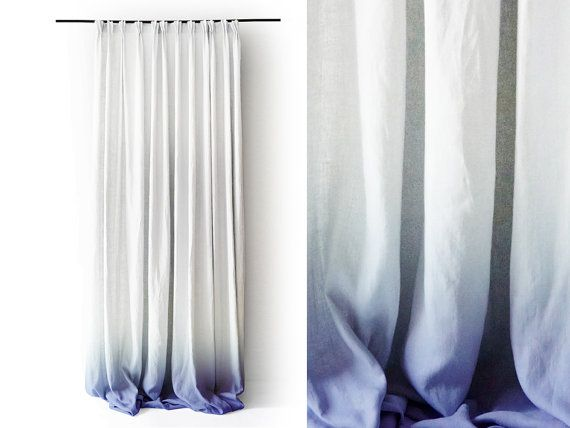 White Linen curtain panel Ombrè Blue fade to white. Pinch pleat Number 3 by Lovely Home Idea. Interested? Customer from the Netherlands and Belgium please get into contact via: info@balticdesigns.nl