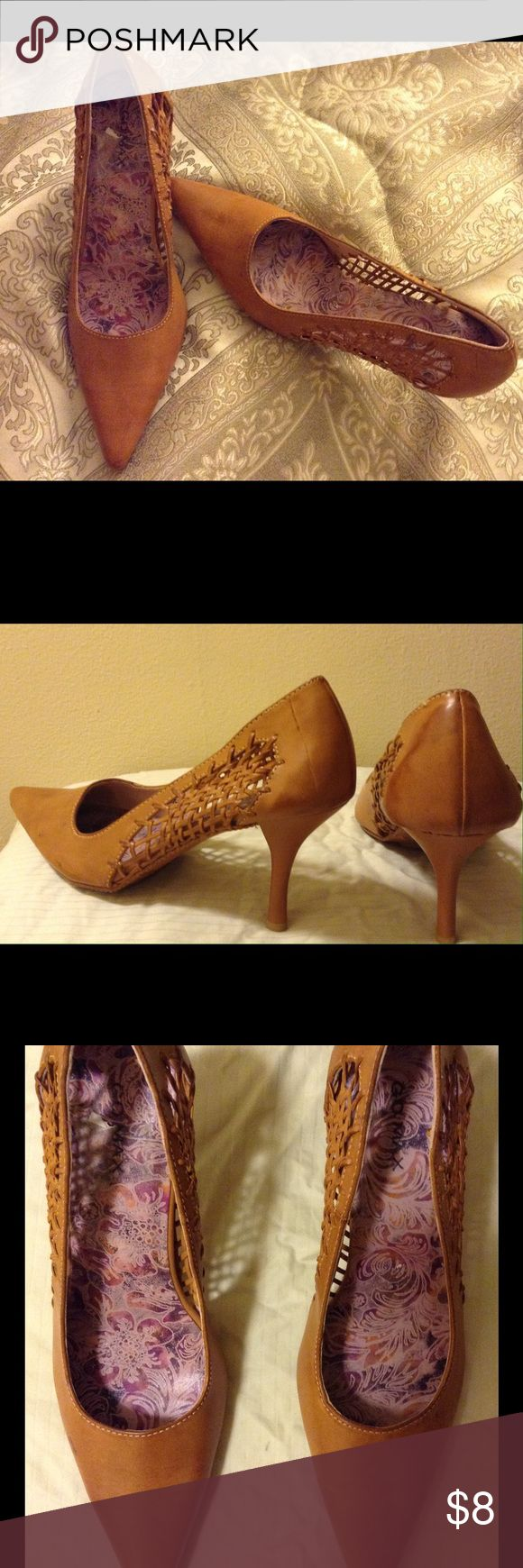Tan high heel pumps/stiletto heels 2 1/2 inch heel Very snazzy tan high heels. Super nice with skinny or boot jeans. Trendy for the fall pair with leather or jean jackets 💕 all man made fabric looks a lot like leather TTS! Shoes Heels