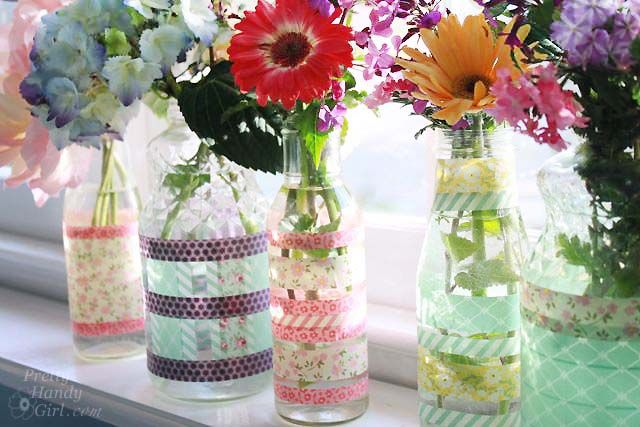 Simple Washi Tape Vases using Recycled Jars and Bottles