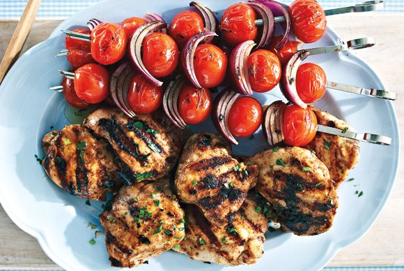 Yogurt-Spiced Chicken With Grilled Tomato Kabobs