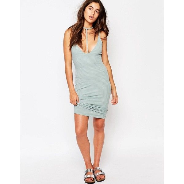 Missguided Ribbed Harness Detail Midi Dress (215 ZAR) ❤ liked on Polyvore featuring dresses, blue, blue bodycon dress, mid calf dresses, white body con dress, bodycon dress and plunging neckline dress
