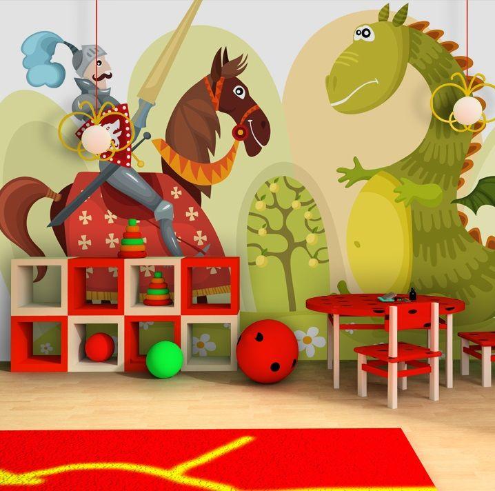 Papier peint moderne Dragon et chevalier, décoration murale chambre enfants garçon. Large choix de déco pour la chambre enfant: papiers peints, tableaux modernes, stickers muraux. Inspirez-vous !