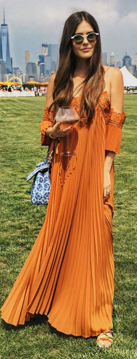 #summer #popular #outfitideas Camel Pleat Off The Shoulder Maxi Dress