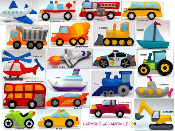 VEHICLES, TRANSPORTATION felt toys,1. Bulldozer 2. Sailboat 3. Double-decker bus 4. Helicopter 5. Excavator 6. Ship 7. Submarine 8. Ambulance car 9. Train 10. Cement mixer 11. Heavy truck 12. School bus 13. Police car 14. Fire truck 15. Motorbike 16. Race car 17. Country truck 18. Taxi cab 19. Airplane 20. Space shuttle 21. Tractor