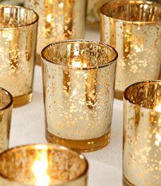 Candle Holder Glass Votive Spot Plating Gold (96pcs)