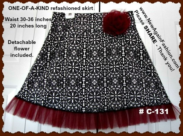Refashioned, upcycled skirt with tutu hemline. Each one of my NewAgainFahion pieces is one-of-a-kind and is only available in the size listed. Unique, eco-friendly, refashioned handmade women's clothing. TO ORDER: Email me the item number to SEWtrend@gmail.com - More of this type of refashioned items are available at www.SEWtrend.com – www.NewAgainFashion.com