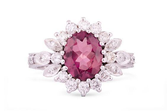 Red tourmaline and diamond ring by GALACIA DESIGNER JEWELLERY.