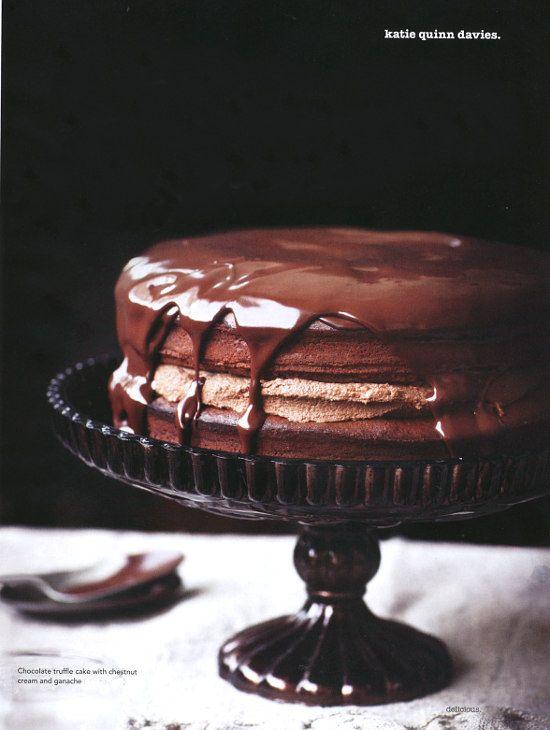 Chocolate Truffle Cake with Chestnut Cream & Ganache   What Katie Ate