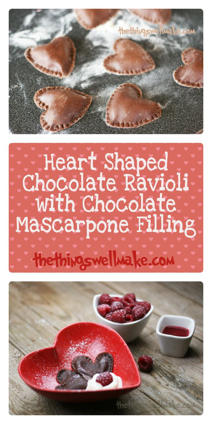 Looking for a romantic dessert? How about these heart shaped chocolate ravioli with chocolate mascarpone filling served with a raspberry puree and homemade whipped cream! Happy Valentine's Day!
