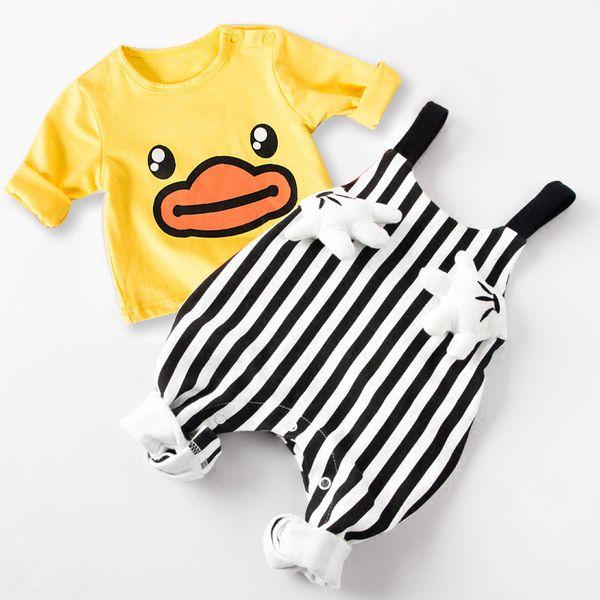 Товары для новорожденных новорожденных девочек с длинными рукавами футболки мужчин комбинезоны костюм весной и осенью осенью Tide 0 3-х лет в месяц на одежду