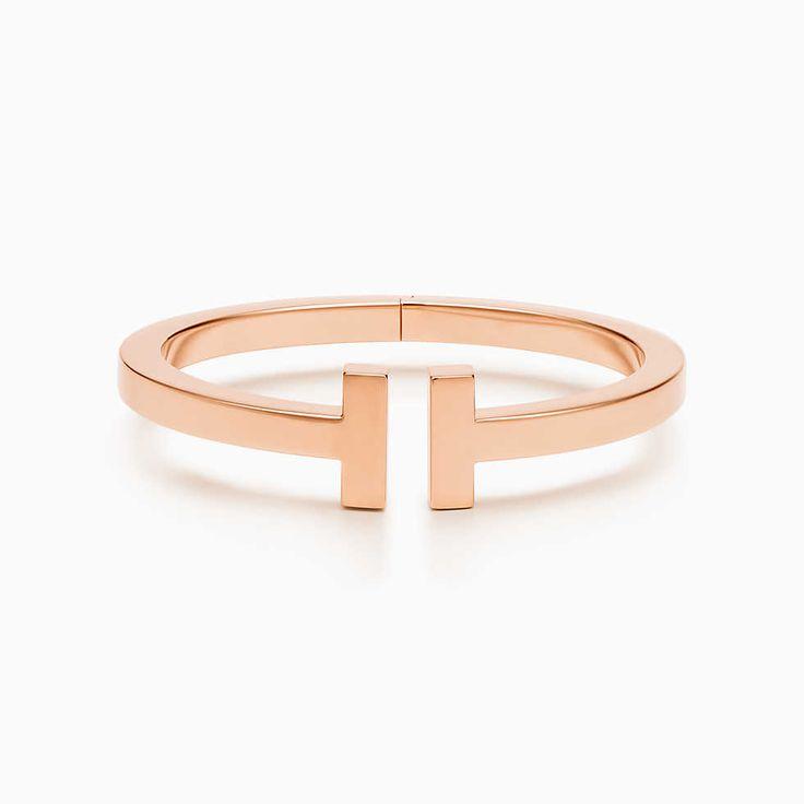 Tiffany T Wire Armband in 18 Karat Roségold mit Diamanten, Medium.